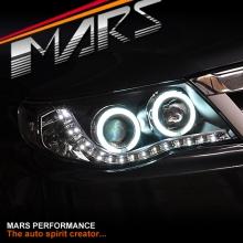 Black DRL LED & CCFL Angel Eyes Projector Head Lights for SUBARU FORESTER S3 08-12