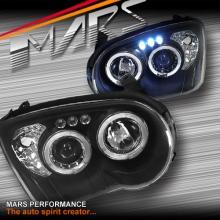 Black Angel Eyes Projector Head Lights for Subaru Impreza 03-05 Sedan & Wagon