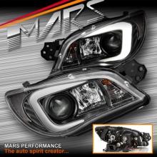 Black LED 3D Stripe Bar DRL Projector Head Lights for Subaru Impreza GD 05-07, Halogen models only
