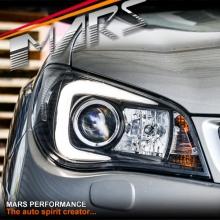 Black LED 3D Stripe Bar DRL Projector Head Lights for Subaru Impreza GD 05-07, HID/Xenon models only