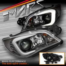 Black LED 3D Stripe Bar DRL Projector Head Lights for Subaru Impreza GD 05-07, HID/Xenon models only
