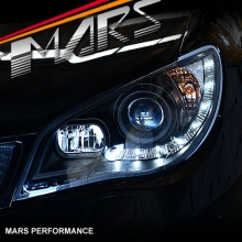Black LED DRL Day-Time Projector Head Lights for Subaru Impreza 05-07