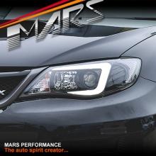 Black LED 3D Stripe Bar DRL Projector Head Lights for Subaru Impreza 07-13, Halogen models only