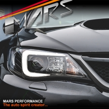 Black LED 3D Stripe Bar DRL Projector Head Lights for Subaru Impreza 07-13, HID/Xenon models only
