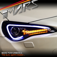 Black 3D Light Bar DRL Projector Head Lights for Toyota 86 GTS & Subaru BRZ