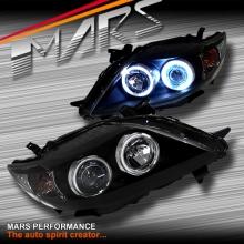Black CCFL Angel Eyes Projector Head Lights for Toyota Corolla 07-10 Sedan