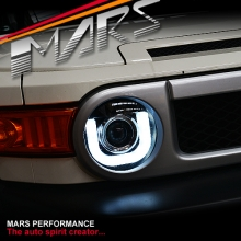 Black 3D LED Day-Time DRL Dual Beam Projector Head Lights for Toyota FJ-Cruiser