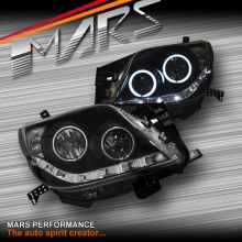 Black DRL LED & CCFL Angel Eyes Projector Head Lights for Toyota Land-Cruiser Prado 09-13