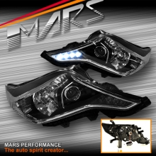 Black Day-Time DRL LED Projector Head Lights for Toyota Land-Cruiser Prado 14-17