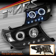 Black LED DRL & CCFL Angel Eyes Projector Head Lights for Toyota LANDCRUISER 200 Series 07-15