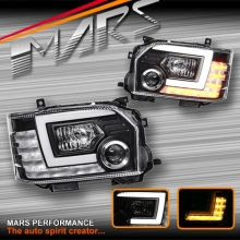 Black LED DRL Projector Head Lights with Sequential Indicators for Toyota Hiace 15-17