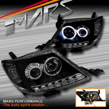 Black DRL LED & CCFL Angel Eyes Projector Head Lights for Toyota Hilux 05-11