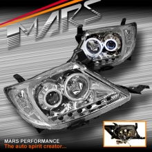 Crystal DRL LED & CCFL Angel Eyes Projector Head Lights for Toyota Hilux 05-11