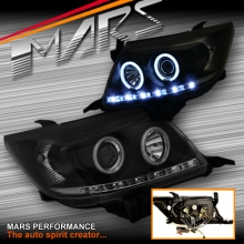 Black DRL LED & CCFL Angel Eyes Projector Head Lights for Toyota Hilux 11-15 SN