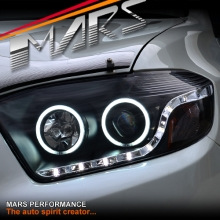 Black DRL LED & CCFL Angel Eyes Projector Head Lights for Toyota HighLander & Kluger 07-10