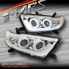 Clear CCFL Angel Eyes & 3D DRL LED Projector Head Lights for Toyota HighLander & Kluger 11-13