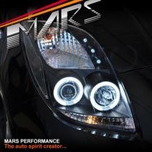Black CCFL Angel Eyes Projector Head Lights for Toyota Yaris 05-08 Hatch