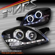 Black CCFL Angel Eyes Projector Head Lights for Toyota Yaris 06-11 Sedan