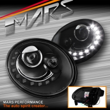 Black LED DRL Dual Beam Projector Head Lights for VolksWagen VW Beetle 06-11