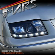 Black DRL LED Projector Head Lights for VolksWagen Bora & Jetta 98-04 MK4
