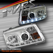 Crystal Clear DRL LED Projector Head Lights for VolksWagen Bora & Jetta 98-04 MK4