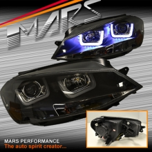 Black 3D Stripe Bar & DRL LED Day Time Projector Head Lights for VolksWagen VW Golf VII MK-7