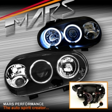 Black CCFL Angel Eyes Projector Head Lights for VolksWagen Golf IV 98-03 MK-4