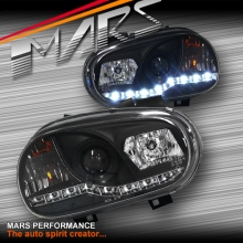 Black LED DRL Projector Head Lights for VolksWagen Golf IV MK-4 98-03