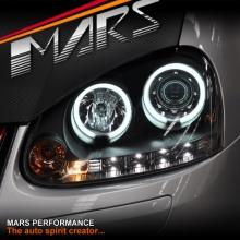 Black LED DRL & Angel Eyes Projector Head Lights for VolksWagen VW Golf MK-5 V 03-08
