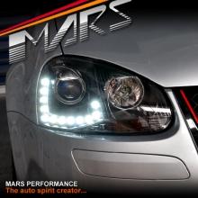 Black R20 Style DRL LED Projector Head Lights for VolksWagen VW Golf V 03-08 MK5