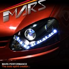 Black DAY-TIME DRL LED Projector Head Lights for VolksWagen VW Golf V MK-5