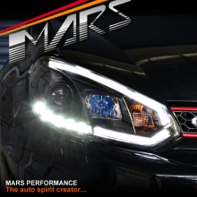 Black 3D Stripe Bar & DRL LED Day Time Projector Head Lights for VolksWagen VW Golf VI MK6