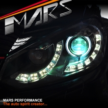 Black DRL LED & CCFL Angel Eyes Dual Beam Projector Head Lights for VolksWagen VW Golf VI MK-6
