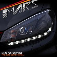 Black DRL LED Day Time Projector Head Lights for VolksWagen VW Golf 6 VI 09-13