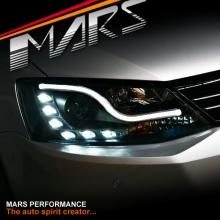 Black 3D LED DRL Projector Head Lights for VolksWagen Jetta 11-16