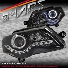 Black DRL LED Dual Beam Projector Head Lights for VolksWagen VW Passat B6 06-10