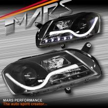 Black LED 3D Stripe Bar DRL Projector Head Lights for VolksWagen VW Passat B7 3C 11-15