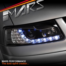 Black DRL LED Projector Head Lights with LED Indicators for VolksWagen VW Passat 97-00