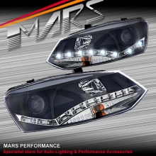 Black DRL LED Day Time Projector Head Lights for VolksWagen VW POLO 6R 10-15