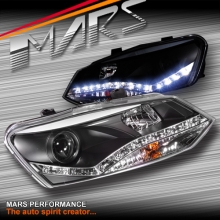 Black DRL LED Day Time Projector Head Lights for VolksWagen VW POLO 6R 10-17