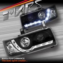 Black DRL LED Day Time Projector Head Lights for VolksWagen VW Transporter T4