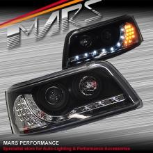 Black DRL LED Day Time Projector Head Lights for VolksWagen VW Transporter T5 04-10