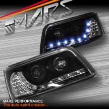 Black LED DRL Projector Head Lights with LED Indcators for VolksWagen VW Transporter T5 04-10