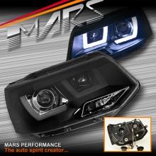 Black 3D LED Stripe DRL Projector Head Lights for VolksWagen VW Transporter T5 11-15 LCI