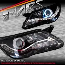 Black DRL LED & CCFL Angel Eyes Projector Head Lights for VolksWagen VW Tiguan 08-11