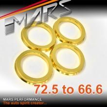 4x Mars Performance Wheels Hub Centric Rings Aluminium Alloy OD = 72.5 / 72.6 mm to ID = 66.6 mm