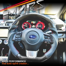 MARS D Shape Carbon Fibre with Leather Wrap Steering Wheel for SUBARU Levorg & WRX & STI
