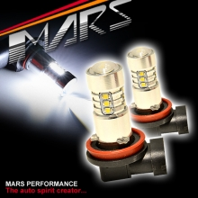 2x MARS Performance H8 H9 H11 Torch Projector LED SMD White Fog Light bulbs