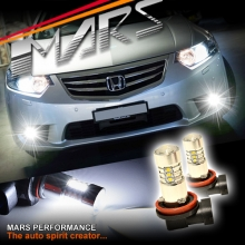 2x MARS Performance High Power Torch Projector LED SMD White Fog Light Bulbs for Honda Accord EURO