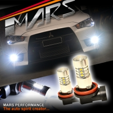 2x MARS Performance High Power Torch Projector LED SMD White Fog Light Bulbs for Mitsubishi Lancer CJ & EVO